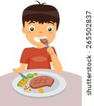 kid eating steak | Shutterstock .eps vector #265502837
