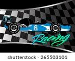 race car poster on checkered... | Shutterstock .eps vector #265503101