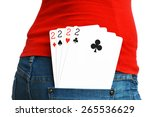 four cards of two in rear... | Shutterstock . vector #265536629