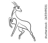 Outlined Antelope Vector...