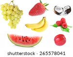 collage of different fruits on... | Shutterstock . vector #265578041