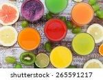 glasses of tasty fresh juice ... | Shutterstock . vector #265591217