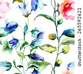seamless pattern with ipomea... | Shutterstock . vector #265592621