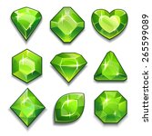 set of green crystals with...