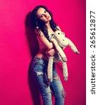 stylish slim girl in the jeans... | Shutterstock . vector #265612877