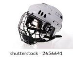 white hockey helmet - stock photo