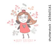 happy birthday card with cute... | Shutterstock .eps vector #265665161
