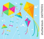Colorful Kites And Clouds In...