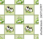 cute watercolor hares with... | Shutterstock . vector #265711997