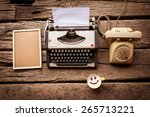 typewriter coffee and notebook... | Shutterstock . vector #265713221