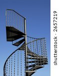Steel Spiral Staircase - stock photo