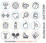 Sport And Fitness Line Icons...