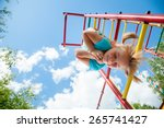 low angle view of cute blond... | Shutterstock . vector #265741427