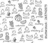 fruit doodles seamless vector... | Shutterstock .eps vector #265742075
