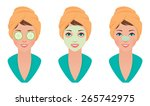 vector illustration set girl... | Shutterstock .eps vector #265742975