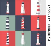 set of lighthouses icons in... | Shutterstock .eps vector #265757735