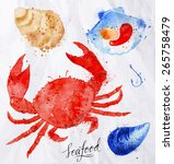 set watercolor drawn seafood ... | Shutterstock .eps vector #265758479