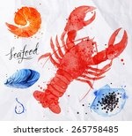 set watercolor drawn seafood ... | Shutterstock .eps vector #265758485