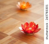Red And Orange Lotus Candles O...