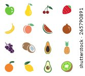 vector set of fruit icons.... | Shutterstock .eps vector #265790891