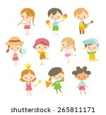 cute children in a simple style   Shutterstock .eps vector #265811171