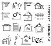 real estate line icons set  | Shutterstock .eps vector #265826819