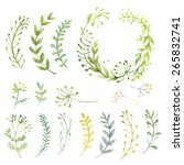 Stock vector set of flowers painted in watercolor on white paper sketch of flowers and herbs wreath garland 265832741
