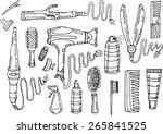 set of hair styling  hair dryer ... | Shutterstock .eps vector #265841525