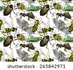 Watercolor Insects. Wasp  Bee ...