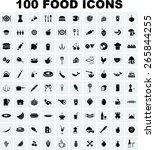 vector food icon set | Shutterstock .eps vector #265844255