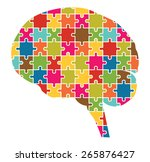 Stock vector human brain jigsaw puzzle pieces abstract vector 265876427
