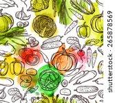 watercolor vegetable pattern... | Shutterstock .eps vector #265878569