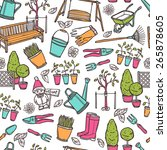 gardening seamless pattern with ... | Shutterstock .eps vector #265878605