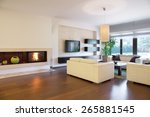 spacious cozy living room with... | Shutterstock . vector #265881545