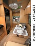 Small photo of BANGKOK, THAILAND - MARCH 24 : The image shows inside decoration of Airstream Traval Trailer displayed at the 36th Bangkok International Motor show in March 24, 2015. Bangkok, Thailand