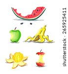 watermelon  apple  banana ...   Shutterstock .eps vector #265925411