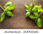 Basil Leaves On Wooden...
