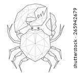 crab. low polygon linear... | Shutterstock . vector #265942679