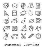 thin lines icon set with school ... | Shutterstock .eps vector #265943255