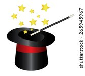 magic hat with wand and stars | Shutterstock . vector #265945967