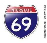 interstate 69 sign  which runs... | Shutterstock . vector #26594653