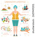 concept of unhealthy lifestyle  ... | Shutterstock .eps vector #265949201