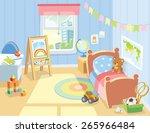 cozy children's bedroom... | Shutterstock .eps vector #265966484