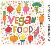 lovely vegan food concept card... | Shutterstock .eps vector #265973105