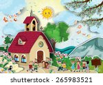 country church with steeple... | Shutterstock .eps vector #265983521