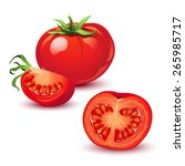 red ripe tomatoes vector... | Shutterstock .eps vector #265985717