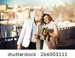happy stylish bride and groom... | Shutterstock . vector #266003111