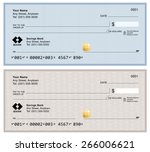 blank bank checks isolated on... | Shutterstock .eps vector #266006621