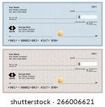 blank bank checks isolated on... | Shutterstock .eps vector #266006621