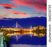 Boston Zakim Bridge Sunset In...